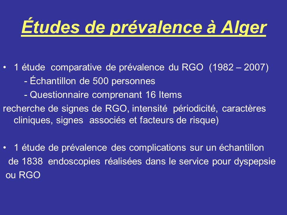 Études de prévalence à Alger