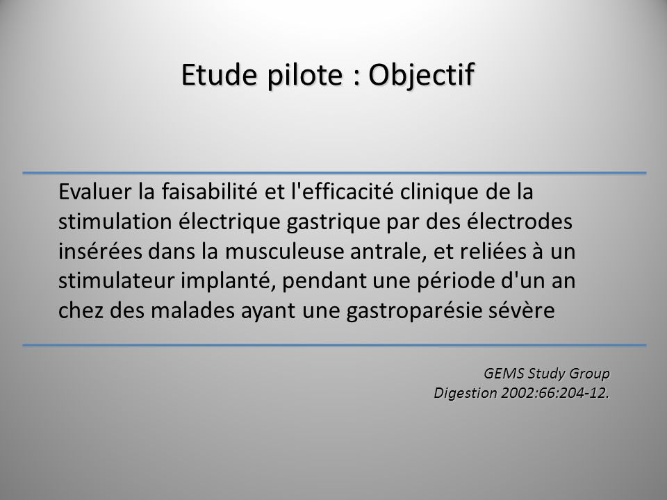 Etude pilote : Objectif