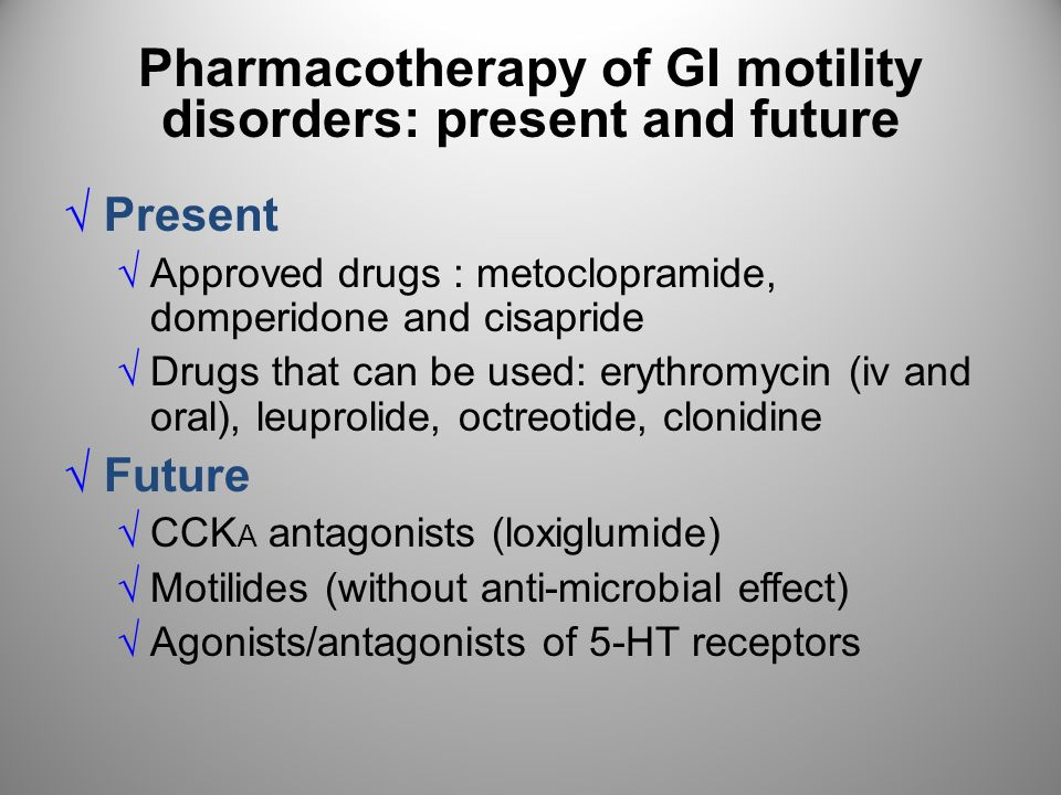 Pharmacotherapy of GI motility disorders: present and future