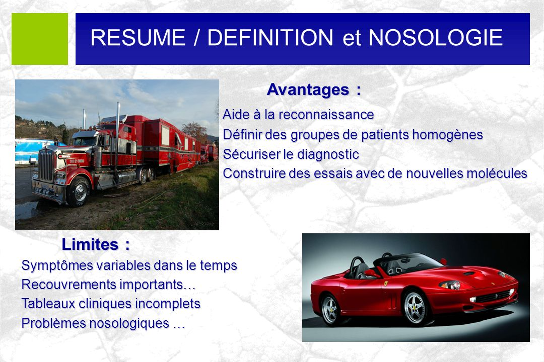 RESUME / DEFINITION et NOSOLOGIE