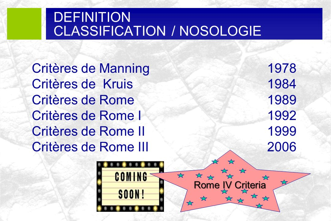 CLASSIFICATION / NOSOLOGIE