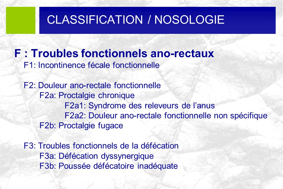 CLASSIFICATION / NOSOLOGIE