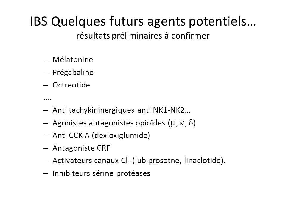 IBS Quelques futurs agents potentiels… résultats préliminaires à confirmer