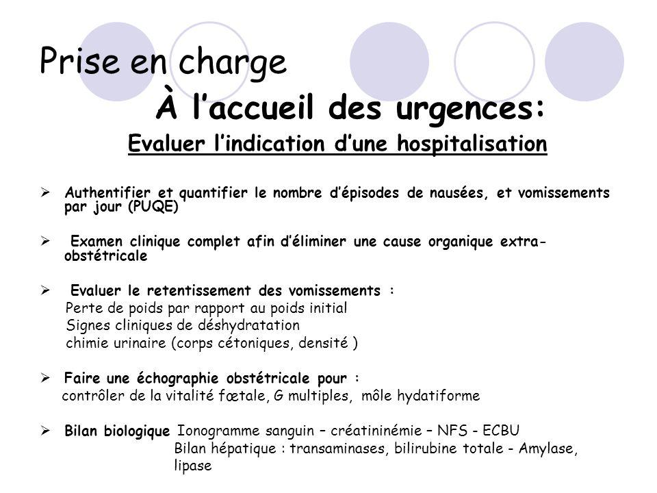 Prise en charge À l'accueil des urgences: