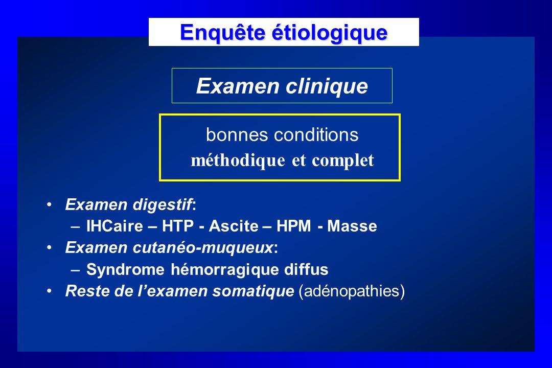 Enquête étiologique Examen clinique