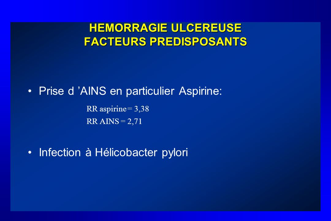 HEMORRAGIE ULCEREUSE FACTEURS PREDISPOSANTS
