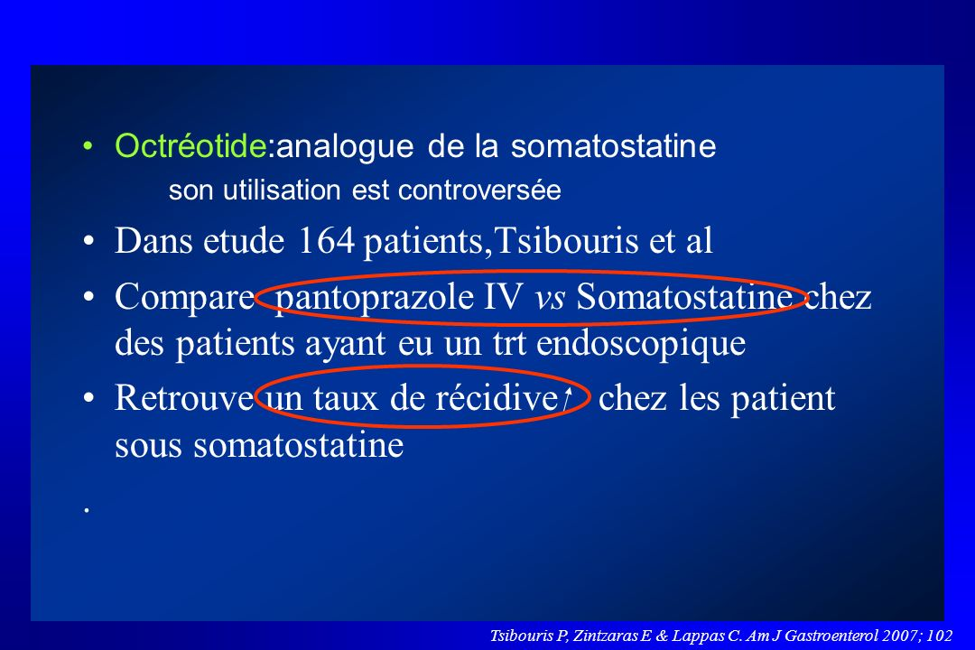 Dans etude 164 patients,Tsibouris et al