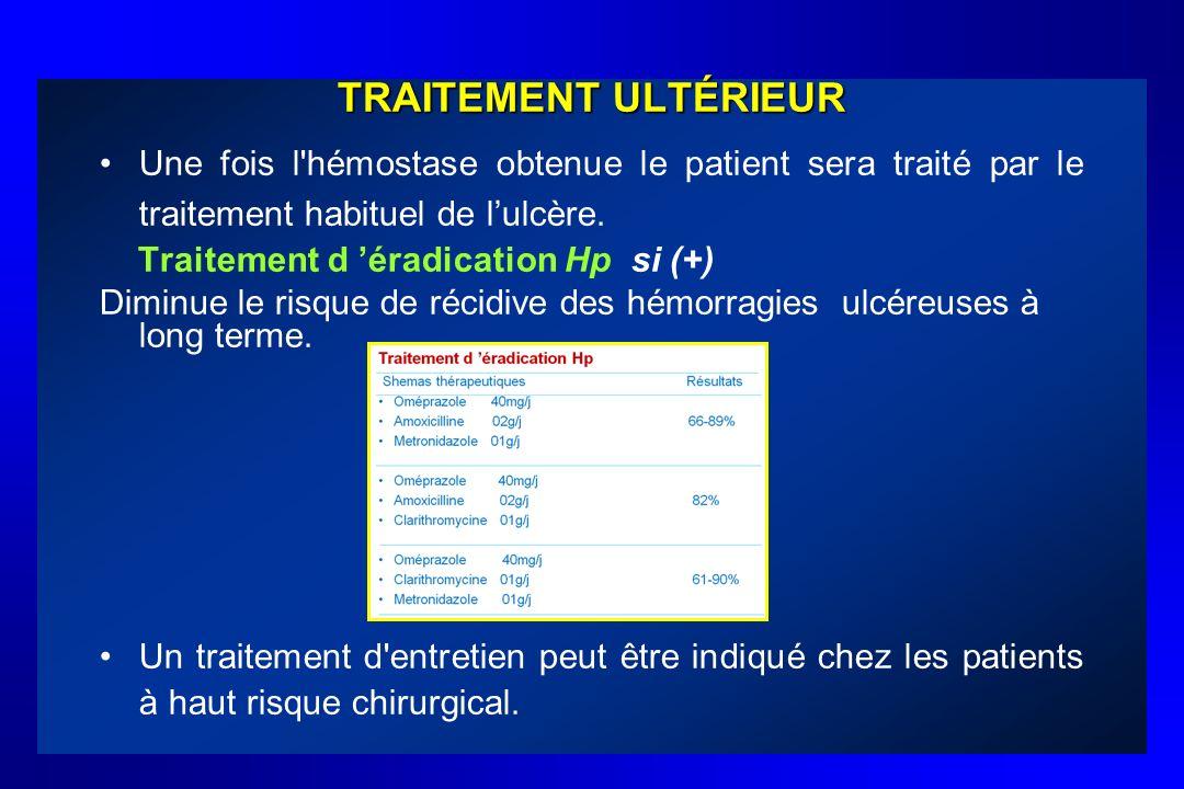 TRAITEMENT ULTÉRIEURUne fois l hémostase obtenue le patient sera traité par le traitement habituel de l'ulcère.