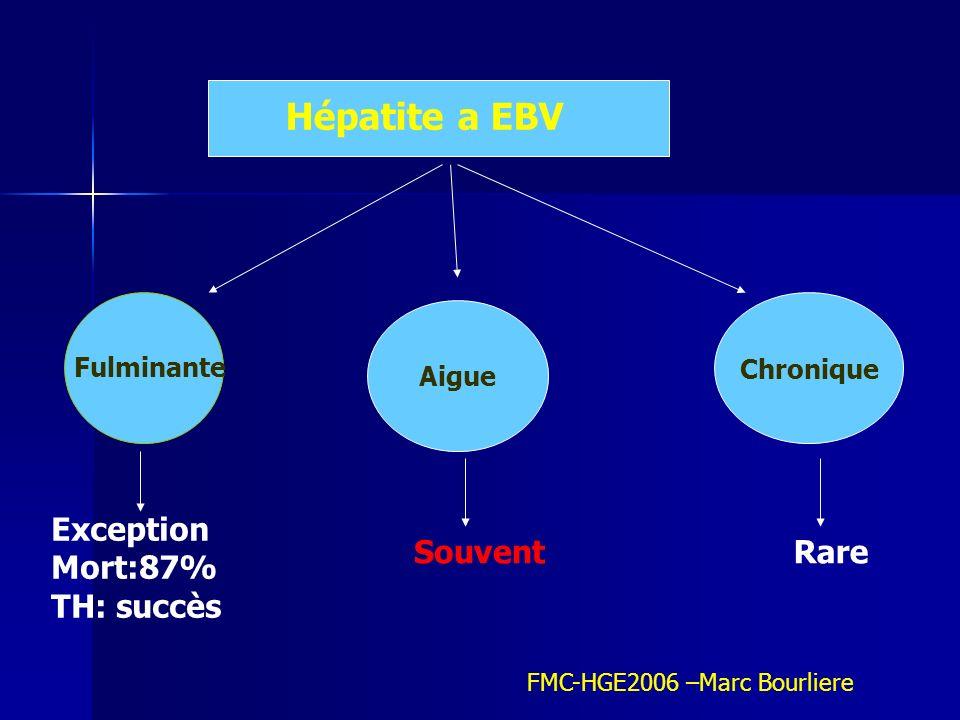 Hépatite a EBV Exception Mort:87% TH: succès Souvent Rare Chronique