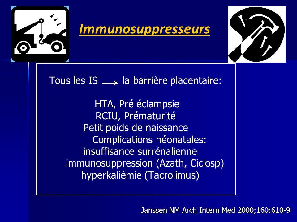 Immunosuppresseurs Tous les IS la barrière placentaire: