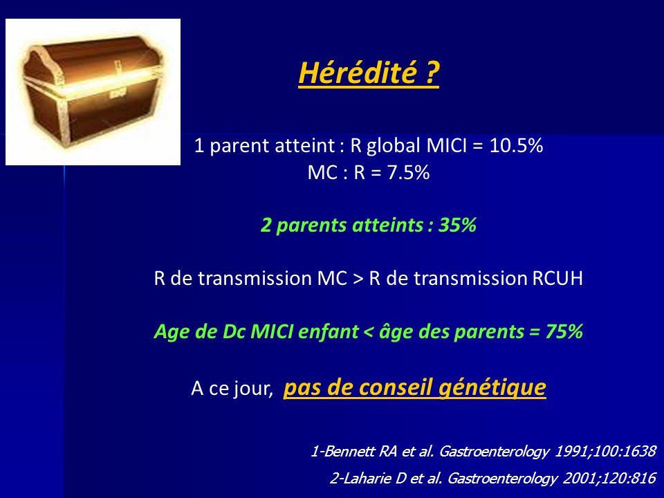 Age de Dc MICI enfant < âge des parents = 75%
