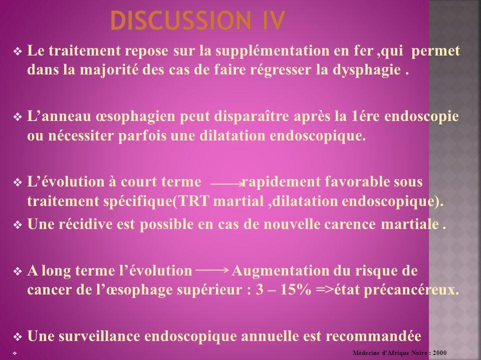 discussion iv Le traitement repose sur la supplémentation en fer ,qui permet dans la majorité des cas de faire régresser la dysphagie .