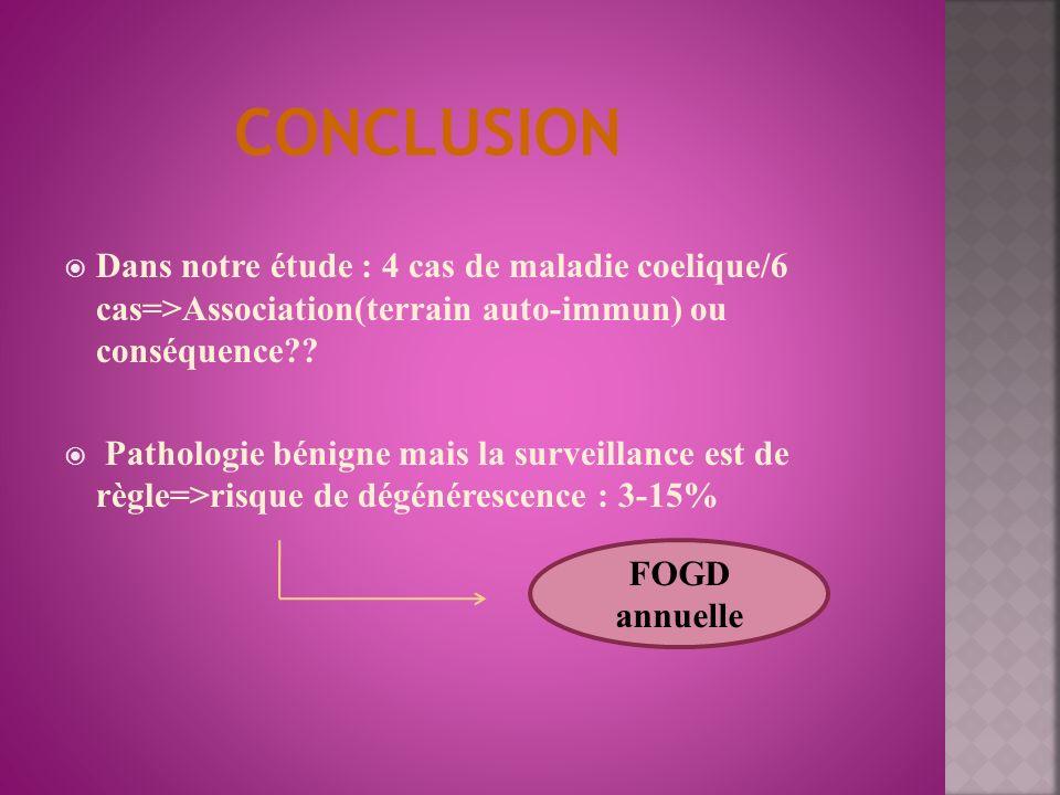 CONCLUSION Dans notre étude : 4 cas de maladie coelique/6 cas=>Association(terrain auto-immun) ou conséquence