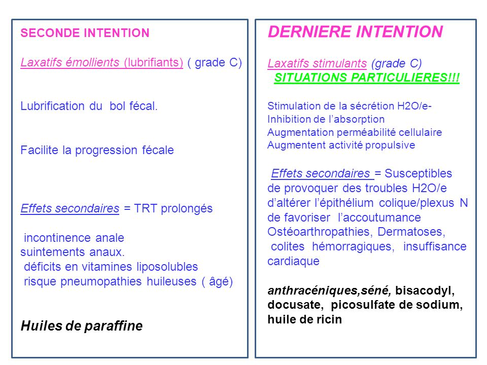 DERNIERE INTENTION Huiles de paraffine SECONDE INTENTION