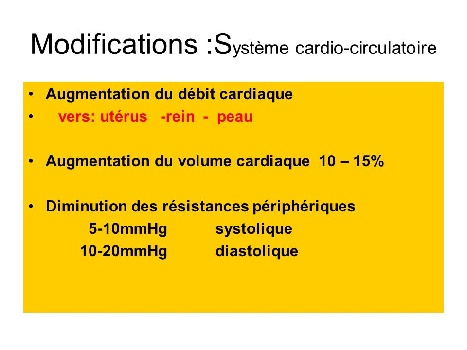 Modifications :Système cardio-circulatoire