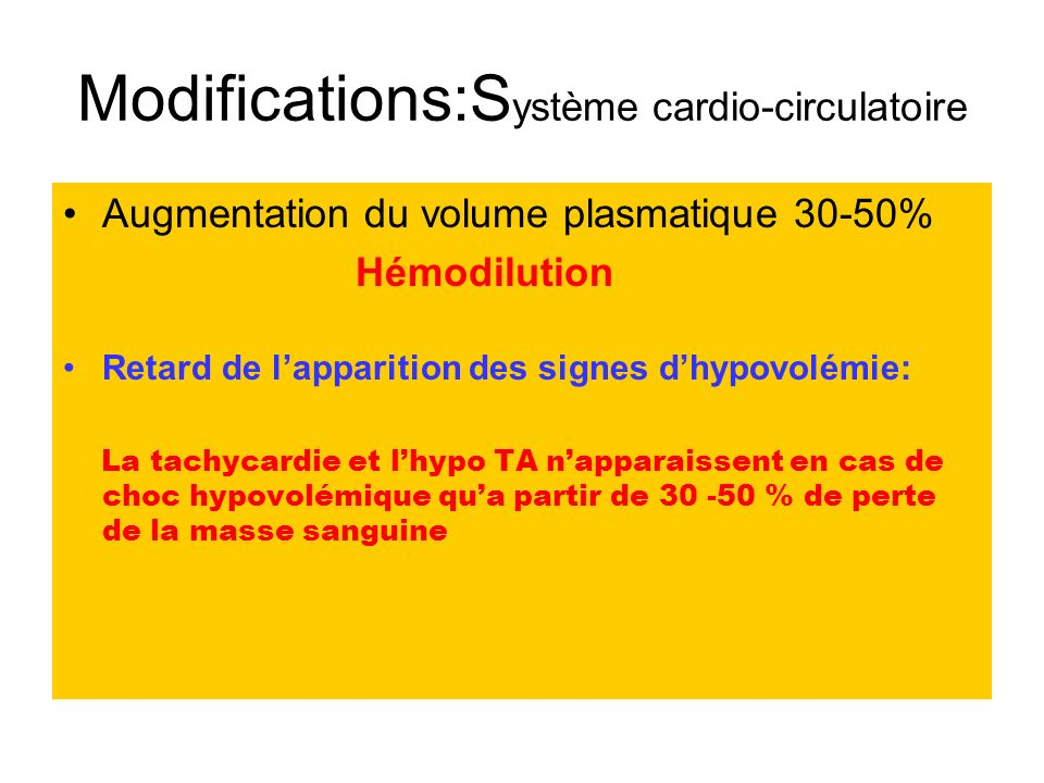 Modifications:Système cardio-circulatoire