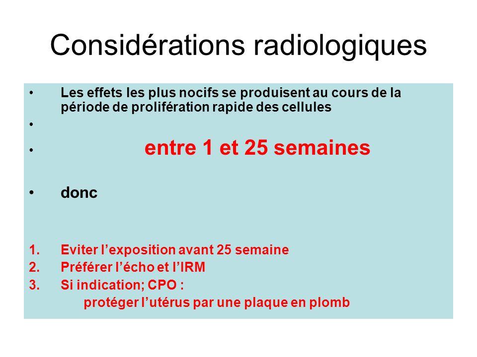 Considérations radiologiques