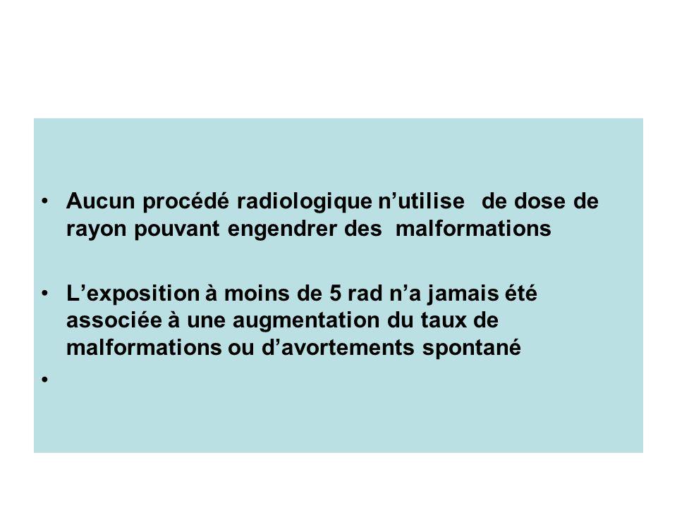 Aucun procédé radiologique n'utilise de dose de rayon pouvant engendrer des malformations
