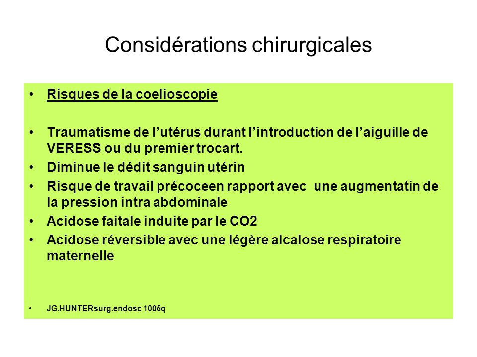 Considérations chirurgicales