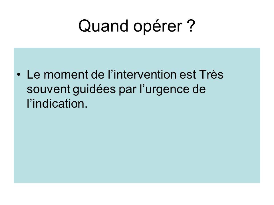 Quand opérer Le moment de l'intervention est Très souvent guidées par l'urgence de l'indication.