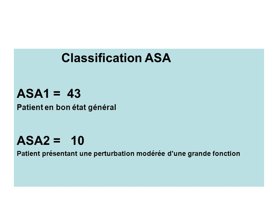 Classification ASA ASA1 = 43 ASA2 = 10 Patient en bon état général