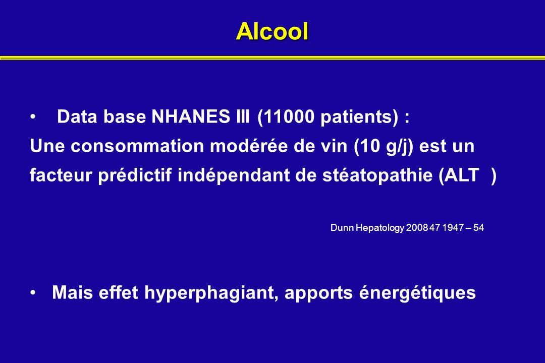 Alcool Data base NHANES III (11000 patients) :