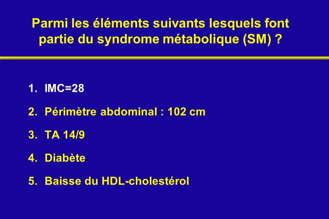 Parmi les éléments suivants lesquels font partie du syndrome métabolique (SM)