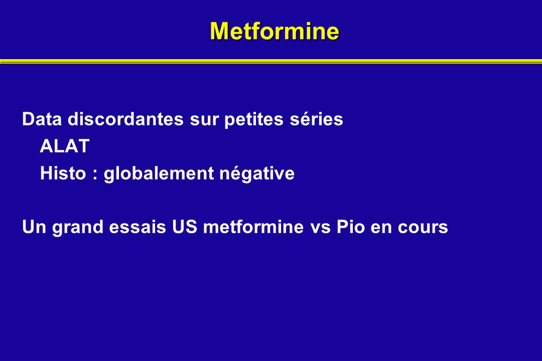Metformine Data discordantes sur petites séries ALAT