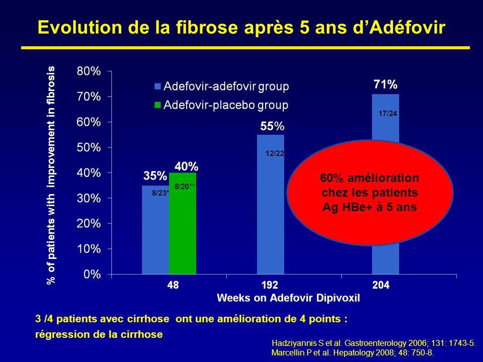 Evolution de la fibrose après 5 ans d'Adéfovir