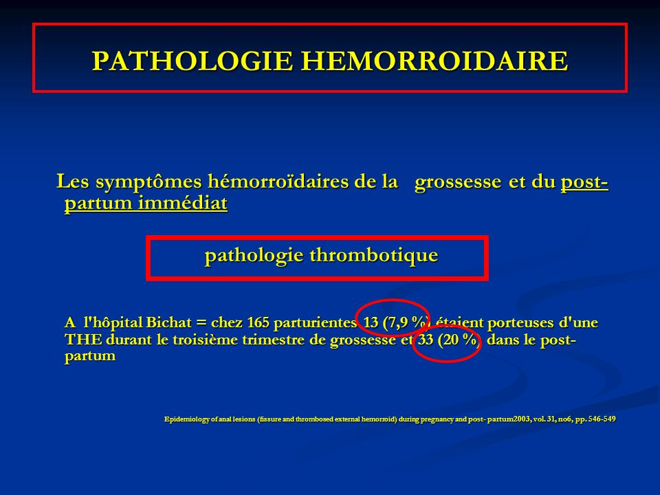 PATHOLOGIE HEMORROIDAIRE