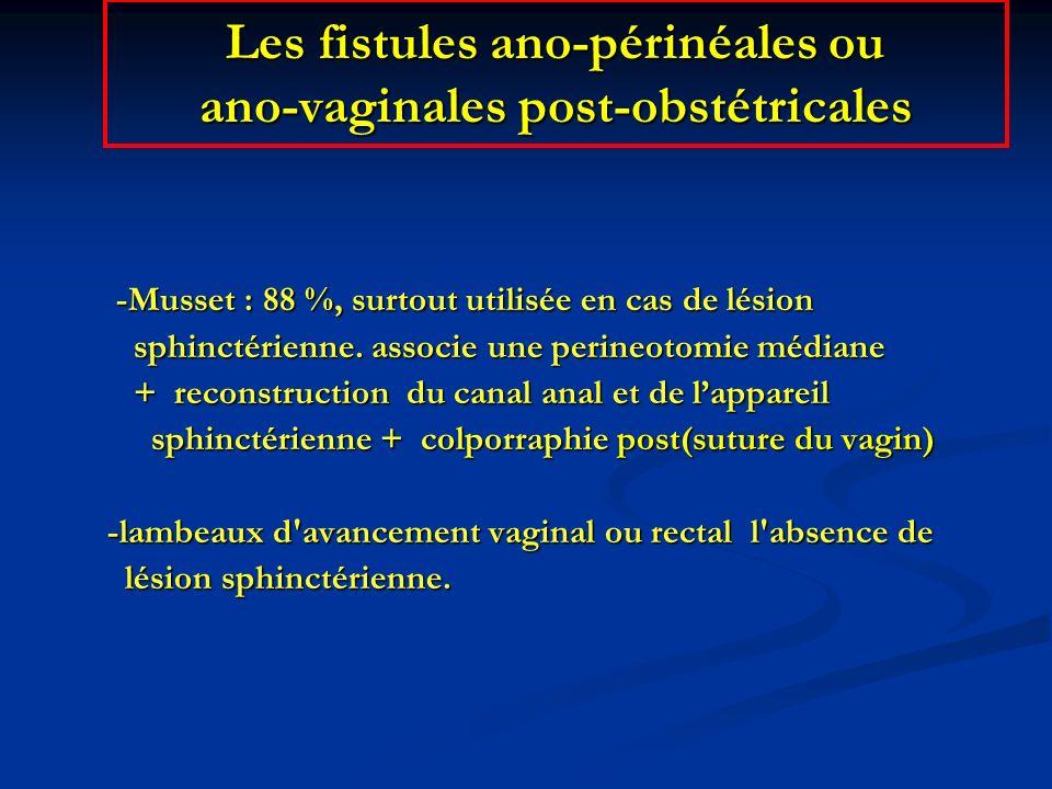 Les fistules ano-périnéales ou ano-vaginales post-obstétricales