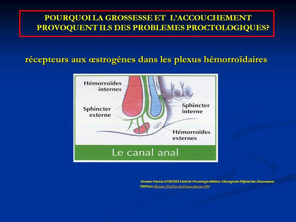 récepteurs aux œstrogènes dans les plexus hémorroïdaires
