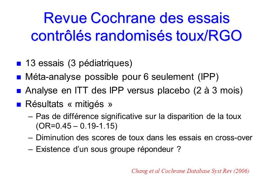 Revue Cochrane des essais contrôlés randomisés toux/RGO