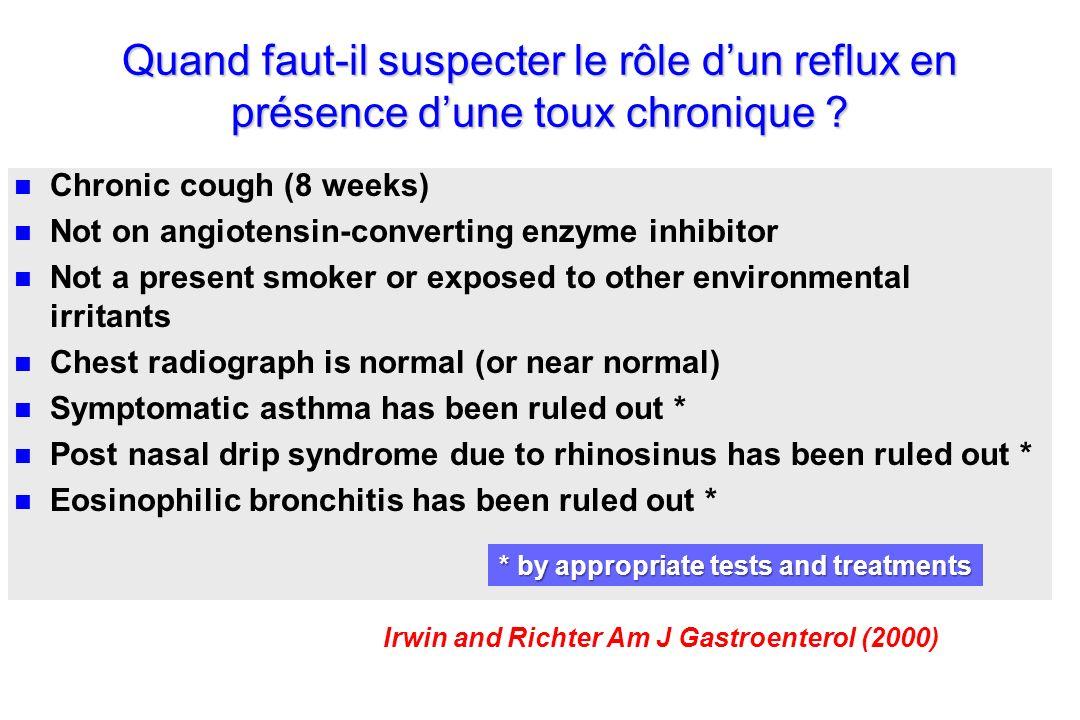 Quand faut-il suspecter le rôle d'un reflux en présence d'une toux chronique