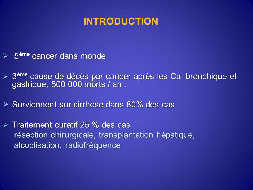 INTRODUCTION 5ème cancer dans monde
