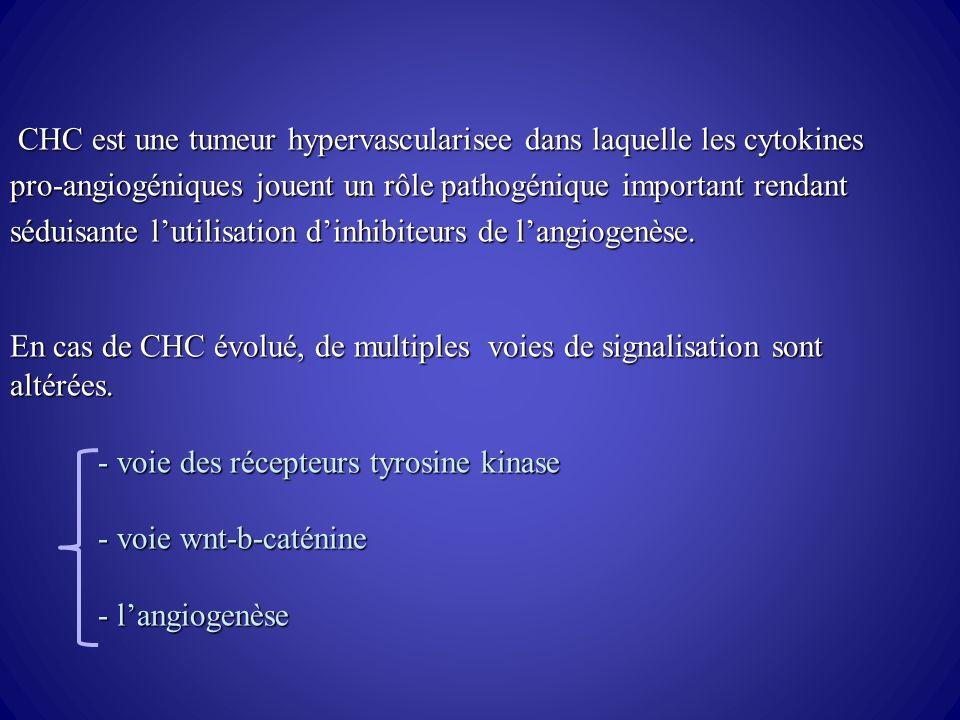 CHC est une tumeur hypervascularisee dans laquelle les cytokines pro-angiogéniques jouent un rôle pathogénique important rendant séduisante l'utilisation d'inhibiteurs de l'angiogenèse.
