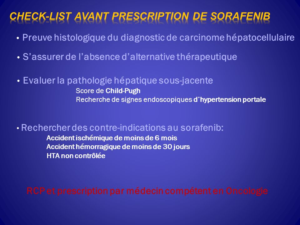 Check-list avant prescription de sorafenib