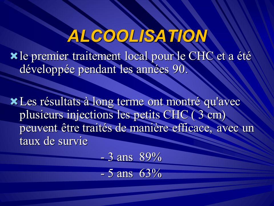 ALCOOLISATION le premier traitement local pour le CHC et a été développée pendant les années 90.