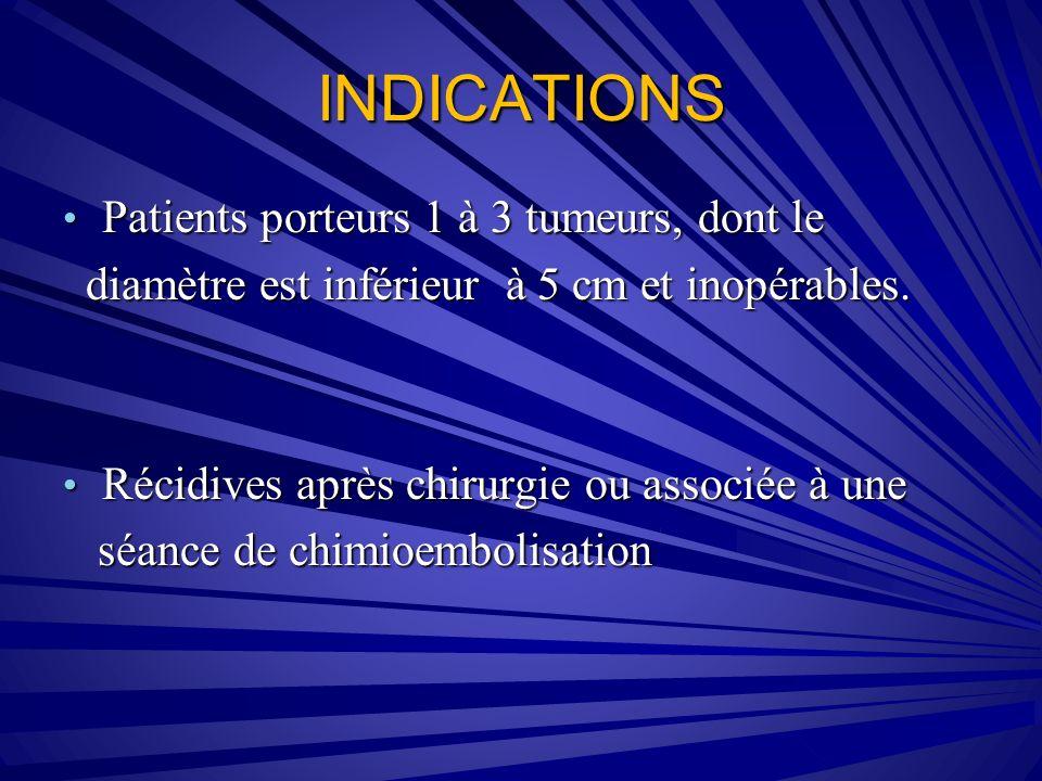 INDICATIONS Patients porteurs 1 à 3 tumeurs, dont le