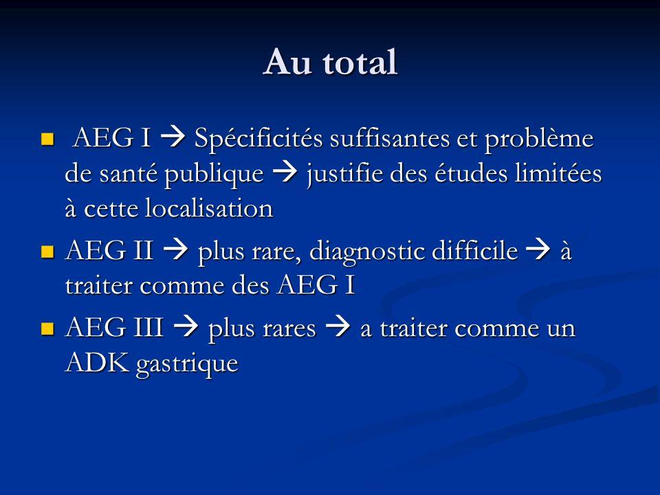 Au total AEG I  Spécificités suffisantes et problème de santé publique  justifie des études limitées à cette localisation.
