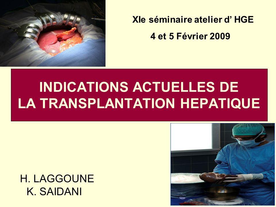 INDICATIONS ACTUELLES DE LA TRANSPLANTATION HEPATIQUE