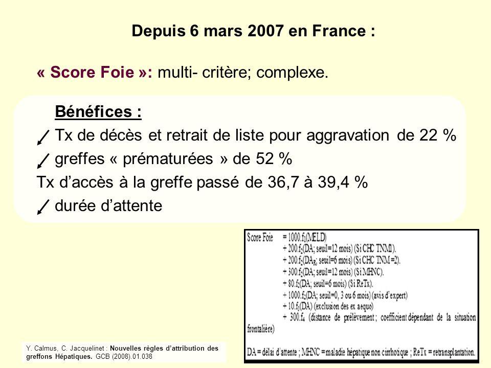 « Score Foie »: multi- critère; complexe. Bénéfices :