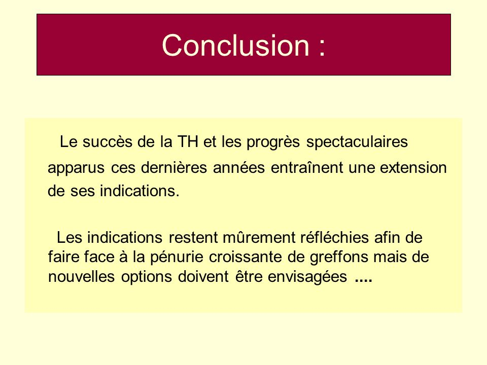 Conclusion : Le succès de la TH et les progrès spectaculaires