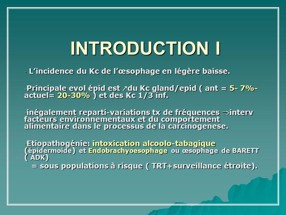 INTRODUCTION I L'incidence du Kc de l'œsophage en légère baisse.