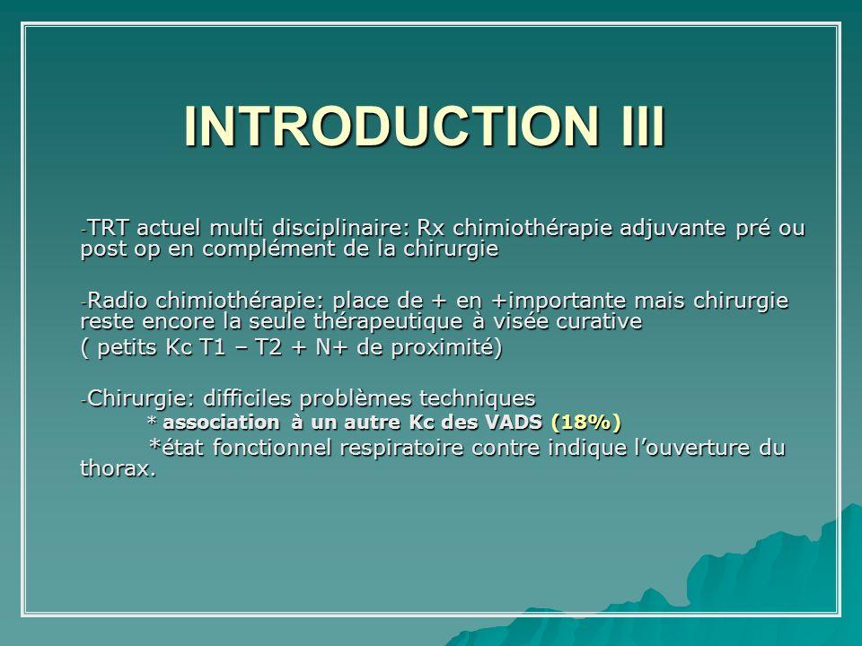 INTRODUCTION III TRT actuel multi disciplinaire: Rx chimiothérapie adjuvante pré ou post op en complément de la chirurgie.
