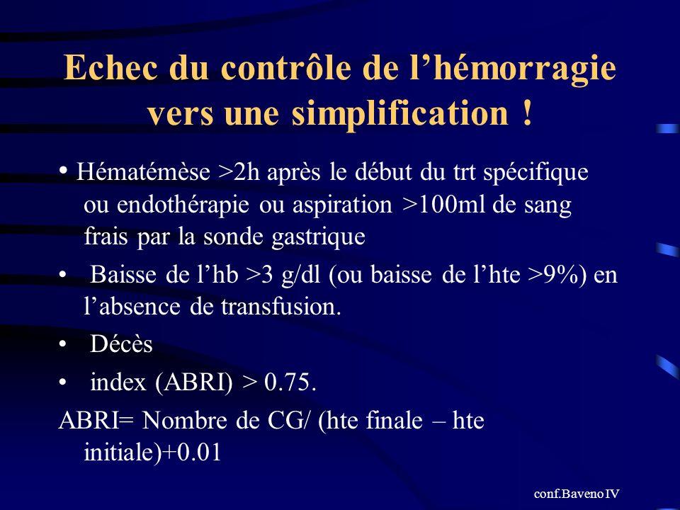 Echec du contrôle de l'hémorragie vers une simplification !