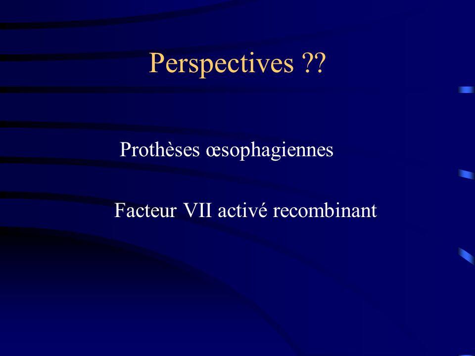 Perspectives Prothèses œsophagiennes Facteur VII activé recombinant