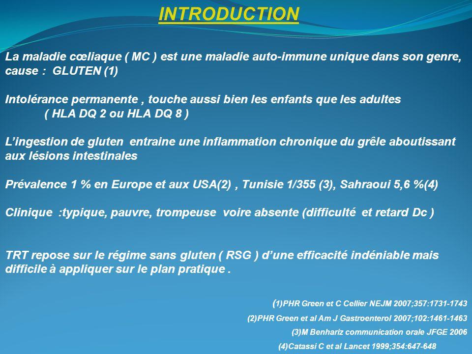 INTRODUCTION La maladie cœliaque ( MC ) est une maladie auto-immune unique dans son genre, cause : GLUTEN (1)
