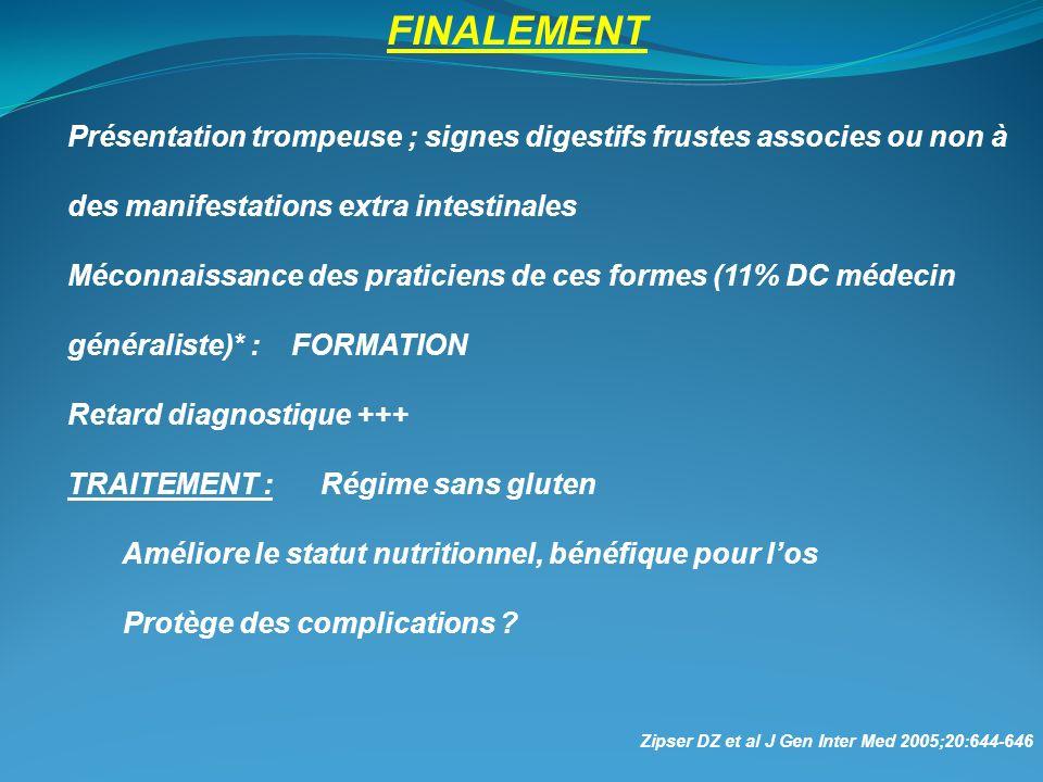 FINALEMENT Présentation trompeuse ; signes digestifs frustes associes ou non à des manifestations extra intestinales.
