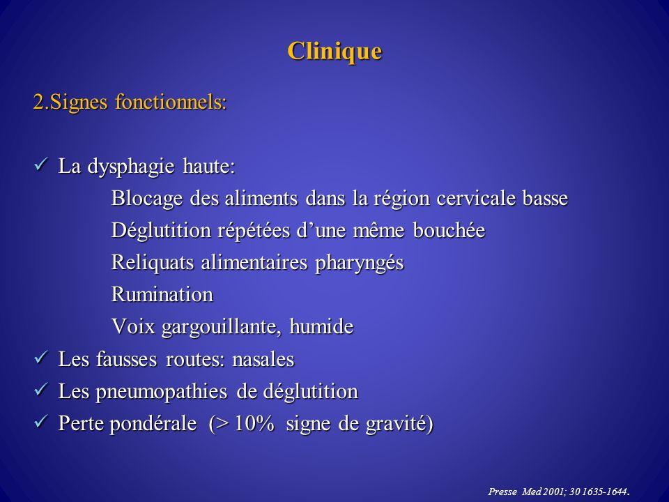 Clinique 2.Signes fonctionnels: La dysphagie haute: